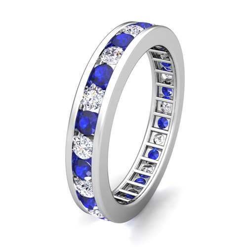 Channel Set Diamond And Sapphire Eternity Band Ring In