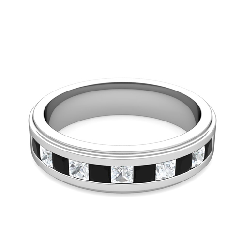 princess cut black diamond mens wedding band 18k gold my love