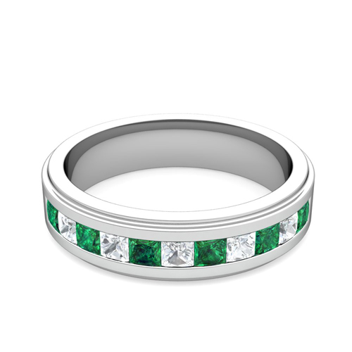 Order Now Ships On Friday 9 28order In 14 Business Days Channel Set Princess Cut Diamond And Emerald Mens Wedding Band