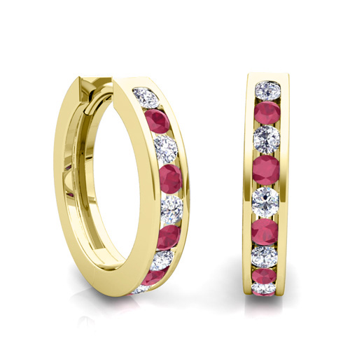 Channel Set Diamond And Ruby Hoop Earrings