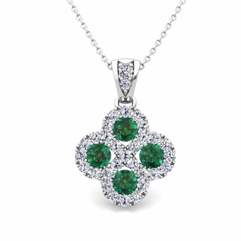 Clover Diamond and Emerald Necklace in 14k Gold Infinity Pendant