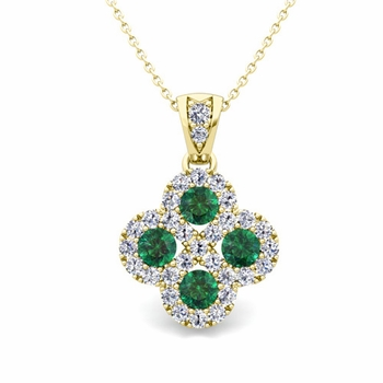 Clover Diamond and Emerald Necklace in 18k Gold Infinity Pendant