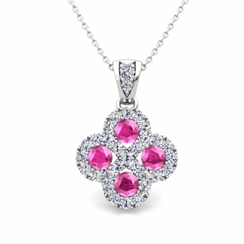 Clover Diamond and Pink Sapphire Necklace in 14k Gold Infinity Pendant