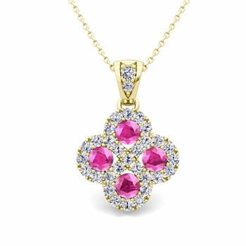 Clover Diamond and Pink Sapphire Necklace in 18k Gold Infinity Pendant