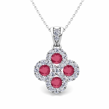 Clover Diamond and Ruby Necklace in 14k Gold Infinity Pendant