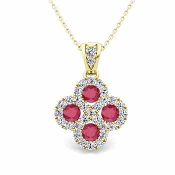 Clover Diamond and Ruby Necklace in 18k Gold Infinity Pendant