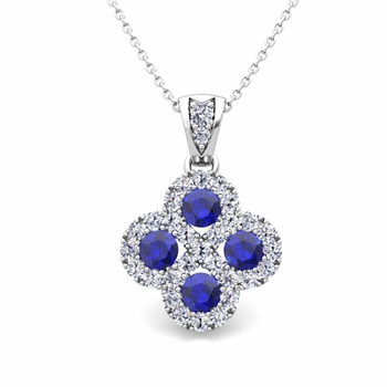 Clover Diamond and Sapphire Necklace in 14k Gold Infinity Pendant