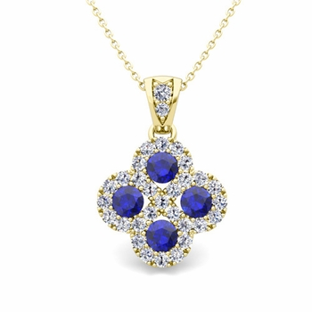 Clover Diamond and Sapphire Necklace in 18k Gold Infinity Pendant