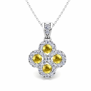 Clover Diamond and Yellow Sapphire Necklace in 14k Gold Infinity Pendant