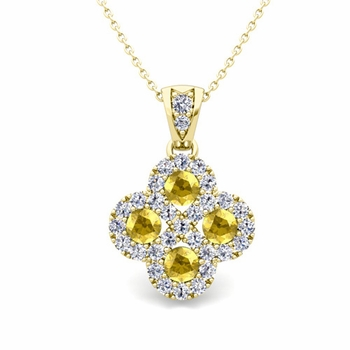 Clover Diamond and Yellow Sapphire Necklace in 18k Gold Infinity Pendant