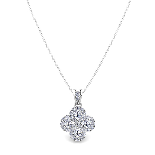 Clover diamond necklace in 14k gold infinity pendant order now ships on wednesday 815order now ships in 14 business days aloadofball Image collections