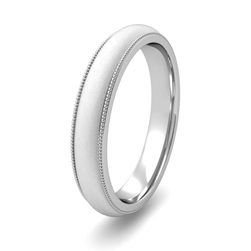 Order Now Ships On Friday 5 4order In Business Days Comfort Fit Milgrain Wedding Band Platinum Satin Finish 4mm