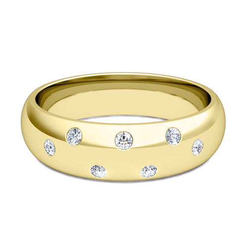 Diamond Mens Wedding Band in 18k Gold Comfort Fit Ring