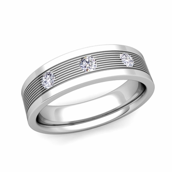 Create 3 Stone Wedding Band Ring for Men with Diamonds or Gemstones