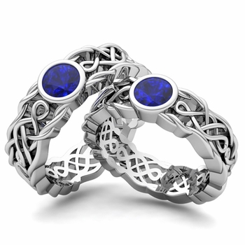 Create Celtic Knot Wedding Ring Band for Him and Her with Diamonds and Gemstones