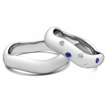 Create Curved Wedding Ring Band for Him and Her with Diamonds and Gemstones
