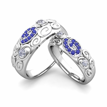 Create Matching Wedding Ring Band for Him and Her with Diamonds and Gemstones