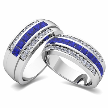 Create Princess Cut Wedding Ring Band for Him and Her with Diamonds and Gemstones
