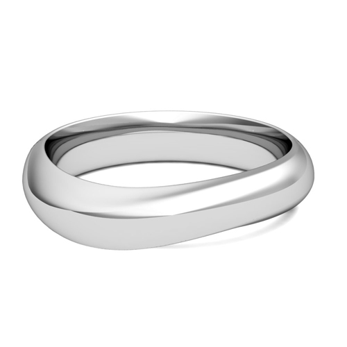 Curved Wedding Band in 18k Gold Mens Comfort Fit Ring 5mm