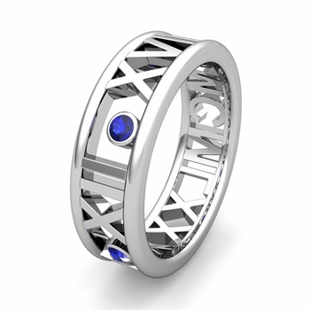 Custom Made 3 Stone Roman Numeral Wedding Ring Band, 7mm