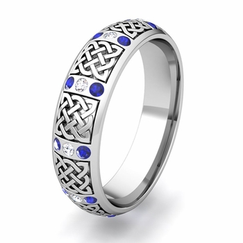 Create Celtic Knot Wedding Band Anniversary Ring with Diamonds and Gemstones