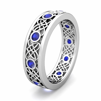Customize Celtic Heart Knot Wedding Band Ring with Gemstones and Diamonds