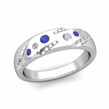 Create Unique Wedding Anniversary Ring in Flush Setting with Diamonds and Gemstones