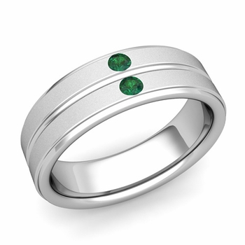 Customized Flat Comfort Fit Wedding Band Ring with Diamonds and Gemstones