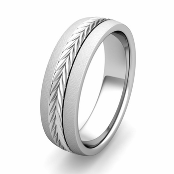 Customized Garland Comfort Fit Wedding Band Ring in Gold or Platinum