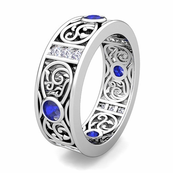 Customize Celtic Wedding Band Ring for Men with Gemstones and Diamonds