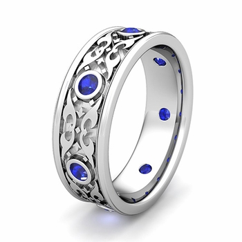 Customize Celtic Knot Wedding Band Ring for Men with Gemstones and Diamonds