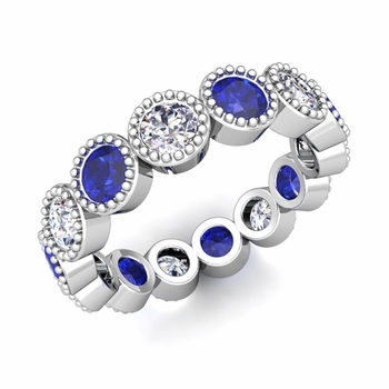 Build Wedding Ring Band in Milgrain Eternity Band Setting with Diamonds and Gemstones