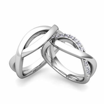 Custom Infinity Wedding Ring Band for Him and Her with Diamonds and Gemstones
