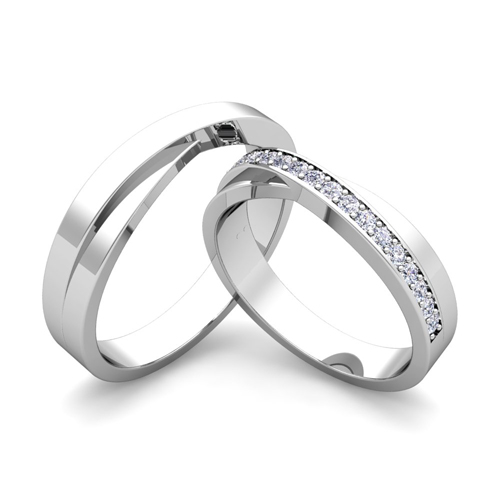 custom infinity wedding bands for him and her with diamond