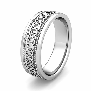 Customize Milgrain Celtic Wedding Ring for Men and Women in Gold and Platinum