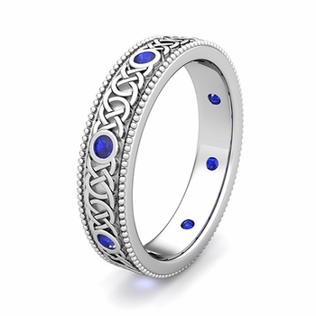 Customize Milgrain Celtic Knot Wedding Ring with Gemstones and Diamonds