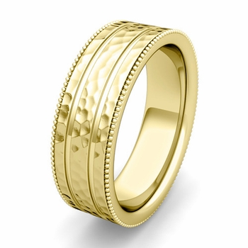 Customized Milgrain and Groove Wedding Band Ring for Men and Women