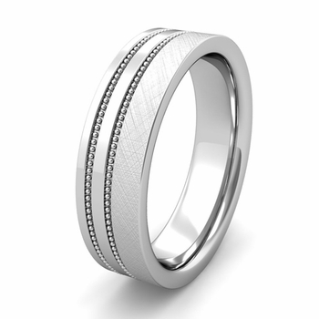 Customized Double Milgrain Wedding Band Ring for Men and Women
