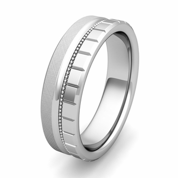 Customized Wedding Band Ring with Milgrain and Brick Details in Gold or Platinum