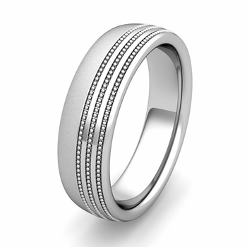 Customized Milgrain Dome Wedding Band Ring for Men and Women