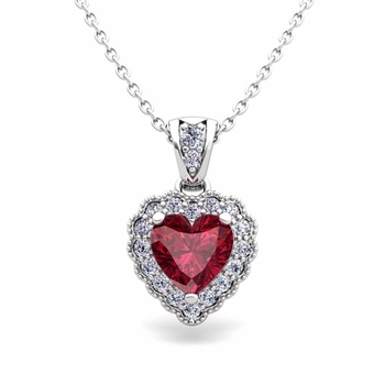 Custom Milgrain Heart Diamond and Gemstone Necklace in 14k, 18k Gold