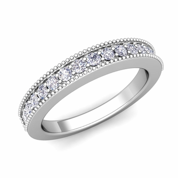 Build Wedding Ring Band in Milgrain Pave Setting with Diamonds and Gemstones