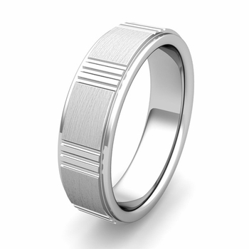 Customized Geometric Wedding Band Ring in Gold or Platinum