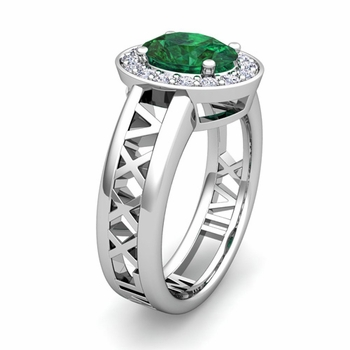 Custom Halo Gemstone Engagement Ring in Roman Numeral Band