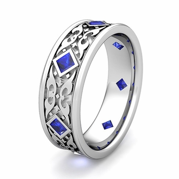 Customize Princess Cut Celtic Wedding Band Ring with Gemstones and Diamonds