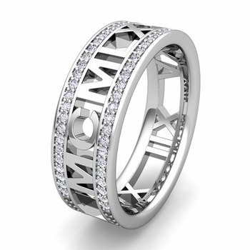 Custom Roman Numeral Eternity Wedding Ring in Gold or Platinum