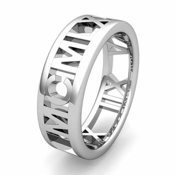 Custom Legacy Roman Numeral Wedding Ring Band in Gold or Platinum