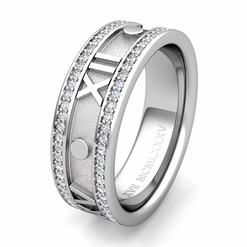 Custom Roman Numeral Wedding Ring in Eternity Band Setting