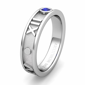 Custom Roman Numeral Wedding Ring with Solitaire Diamond and Gemstone, 5mm