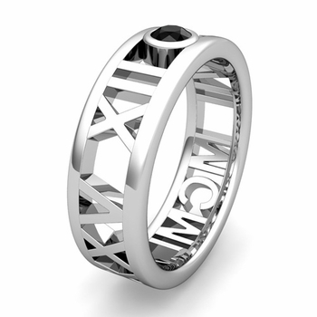 Custom Modern Roman Numeral Wedding Ring with Diamond and Gemstone, 7mm